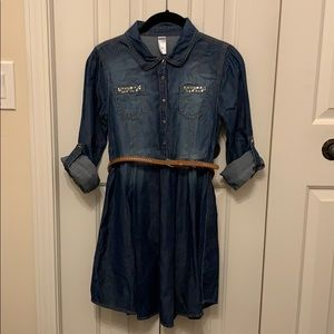 Justice Denim Shirt Dress with Brown Belt